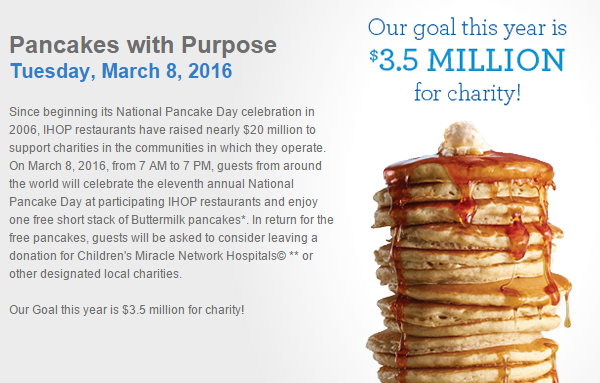IHOP National Pancake Day   March 8  20162