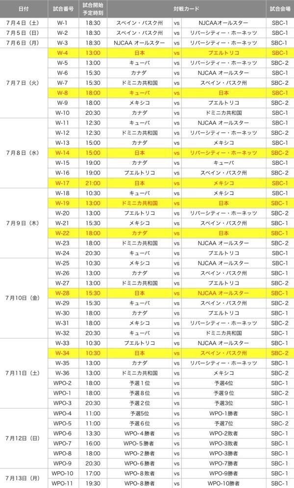日本女子ゲーム日程表