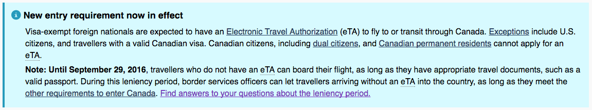 カナダ ETA申請 最新情報