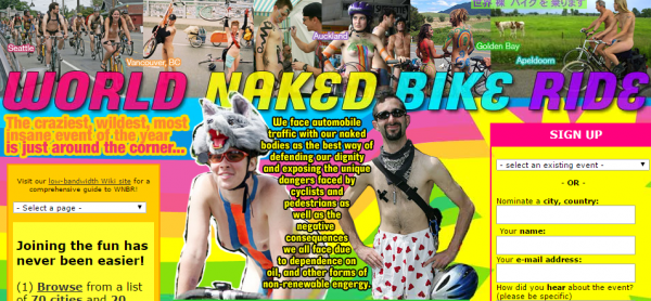 World Naked Bike Ride  WNBR    Naked Bicycle People Power  Stop indecent exposure to vehicle emissions