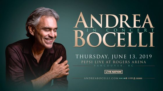 Andrea Bocelli PEPSI LIVE AT ROGERS ARENA 2019 @ Rogers Arena