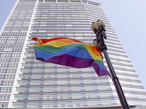 rainbowflagwithabuilding