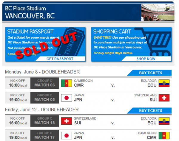 FIFA Women s World Cup Canada 2015   Game Tickets   Schedule   Ticketmaster.ca