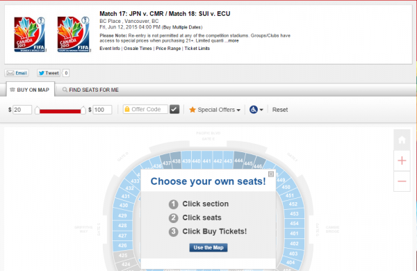 Tickets   Match 17  JPN v. CMR   Match 18  SUI v. ECU   Vancouver BC at Ticketmaster