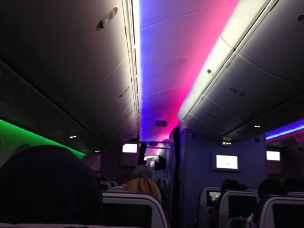 搭乗した機内の照明