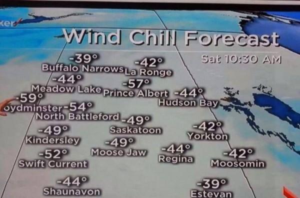 本当にあった怖い話・・・サスカチュワン州の各地の気温!