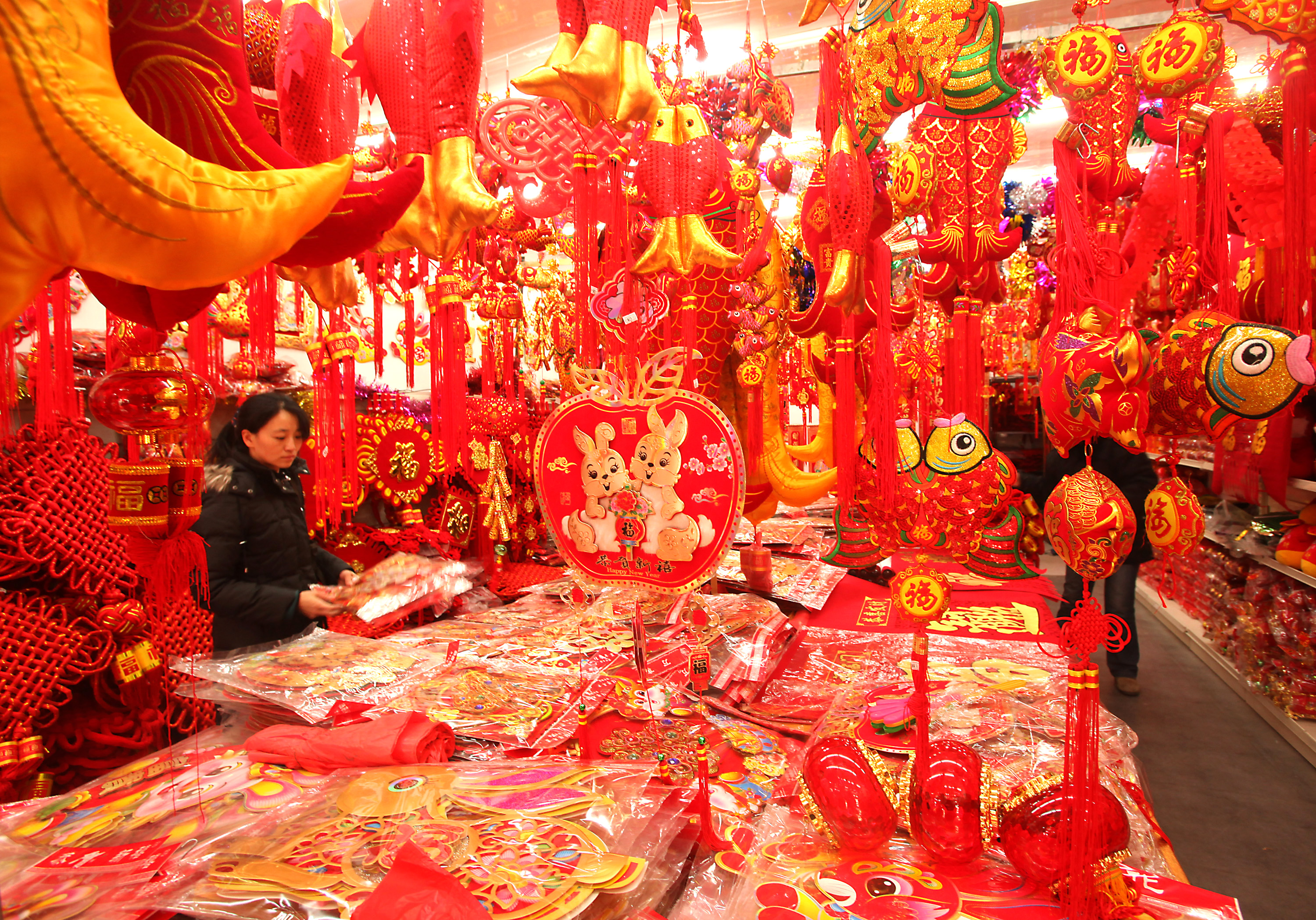 Chinese shop are newly decked out with traditional Chinese Lunar New Year merchandise in Beijing