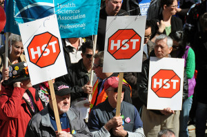 Anti-HST signs at Coalition to Build a Better B.C. rally